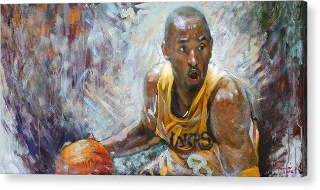 Lakers Acrylic Print featuring the painting Nba Lakers Kobe Black Mamba by Ylli Haruni