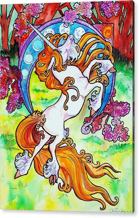 Unicorn Acrylic Print featuring the painting Artsy Nouveau Unicorn by Jenn Cunningham