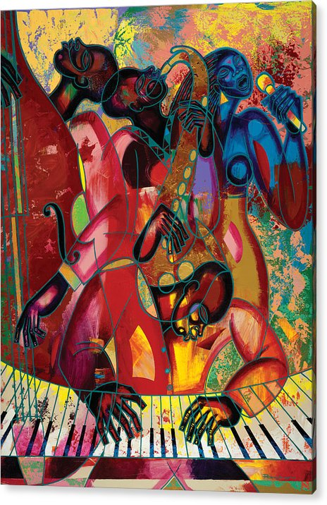 Figurative Acrylic Print featuring the painting Musicfest by Larry Poncho Brown