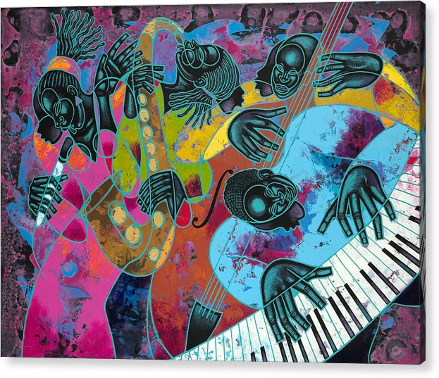 Figurative Acrylic Print featuring the painting Jazz On Ogontz Ave. by Larry Poncho Brown