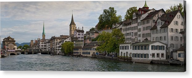Color Image Acrylic Print featuring the photograph A Panorama View Of Zurich by Greg Dale
