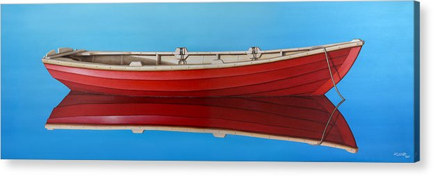 Red Acrylic Print featuring the painting Red Boat by Horacio Cardozo