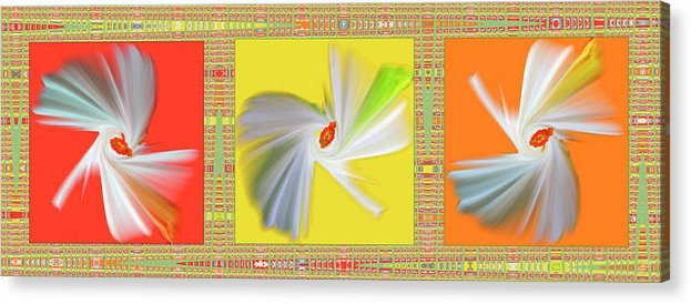 Abstract Acrylic Print featuring the digital art Dancing Flower Trio by Ben and Raisa Gertsberg