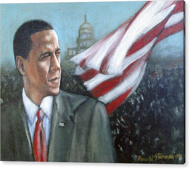 Barack Obama;president;presidential;whitehouse;etc Acrylic Print featuring the painting Barack Obama by Howard Stroman