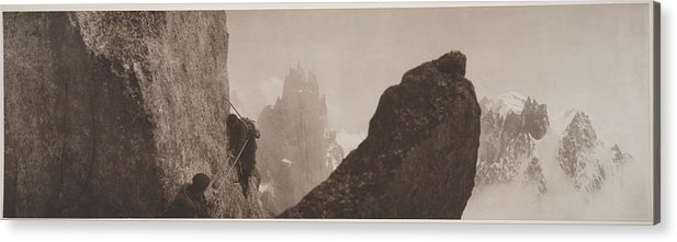 Photography Acrylic Print featuring the photograph Early Mountaineering In The Alps by Georges Tairraz