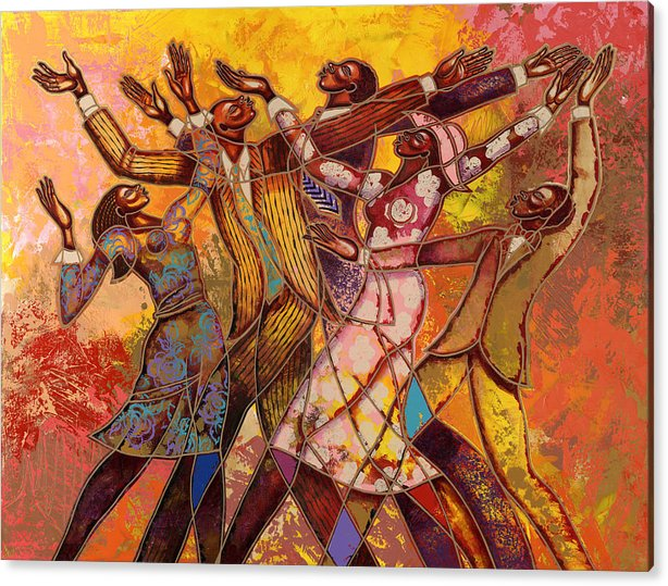 Figurative Acrylic Print featuring the painting Every Round Goes Higher by Larry Poncho Brown