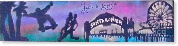 Graffiti Acrylic Print featuring the painting Venice Beach To Santa Monica Purple by Tony B Conscious
