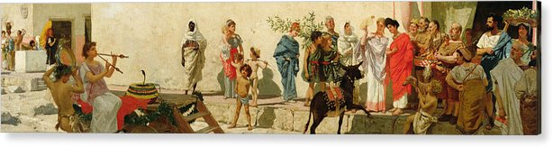 A Roman Street Scene With Musicians And A Performing Monkey Acrylic Print featuring the painting A Roman Street Scene With Musicians And A Performing Monkey by Modesto Faustini