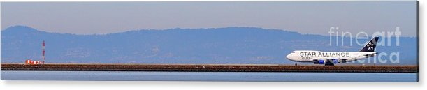Pano Acrylic Print featuring the photograph Star Alliance Airlines Jet Airplane At San Francisco International Airport Sfo . 7d12208 . Pano Cut by Wingsdomain Art and Photography