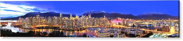 Vancouver Skyline Panorama Acrylic Print featuring the photograph Vancouver Skyline Panorama by Wesley Allen Shaw