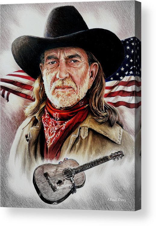 Willie Nelson Acrylic Print featuring the drawing Willie Nelson American Legend by Andrew Read