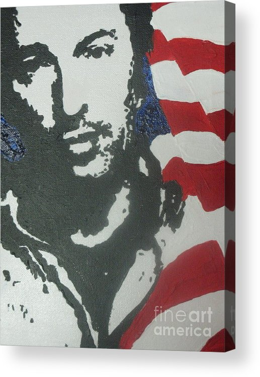 Rock N Roll Acrylic Print featuring the painting Bruce by Moira Ferguson