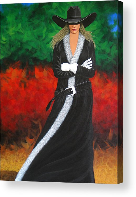 Pretty Cowgirl Acrylic Print featuring the painting Cowgirl by Lance Headlee