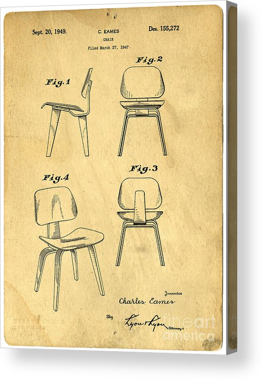 Patent Acrylic Print featuring the drawing Designs For A Eames Chair by Edward Fielding