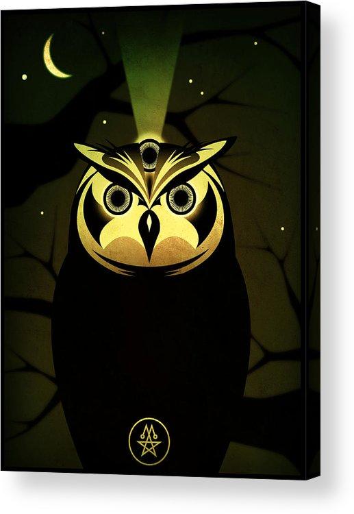 Owl Acrylic Print featuring the digital art Enlightened Owl by Milton Thompson