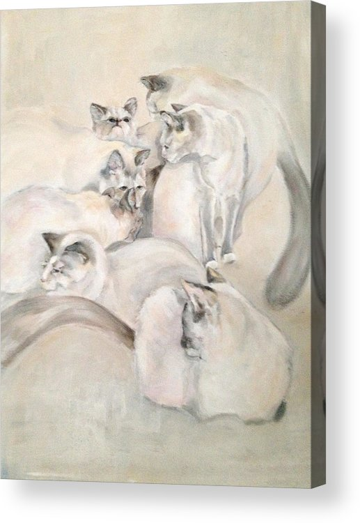 Kitten Acrylic Print featuring the painting Heavenly Puffs by Janet Felts