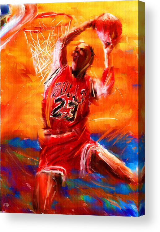 Basketball Acrylic Print featuring the digital art His Airness by Lourry Legarde