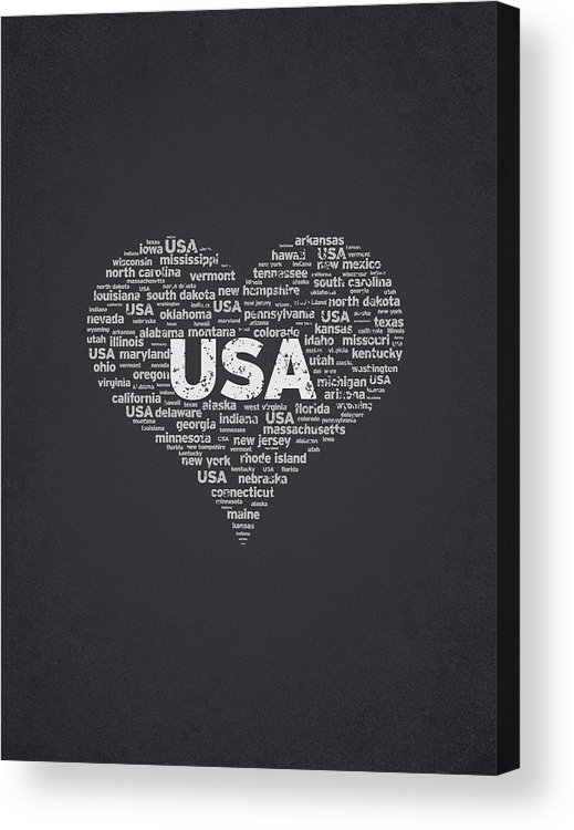 Usa Acrylic Print featuring the digital art I Love Usa by Aged Pixel