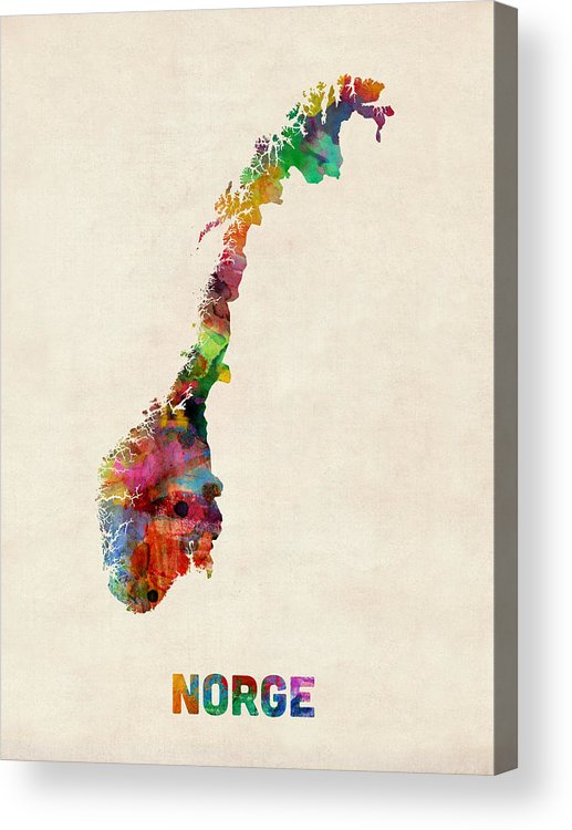 Urban Acrylic Print featuring the digital art Norway Watercolor Map by Michael Tompsett