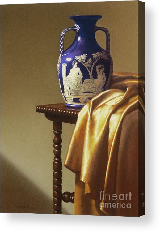 Still Life Acrylic Print featuring the painting Portland Vase With Cloth by Barbara Groff