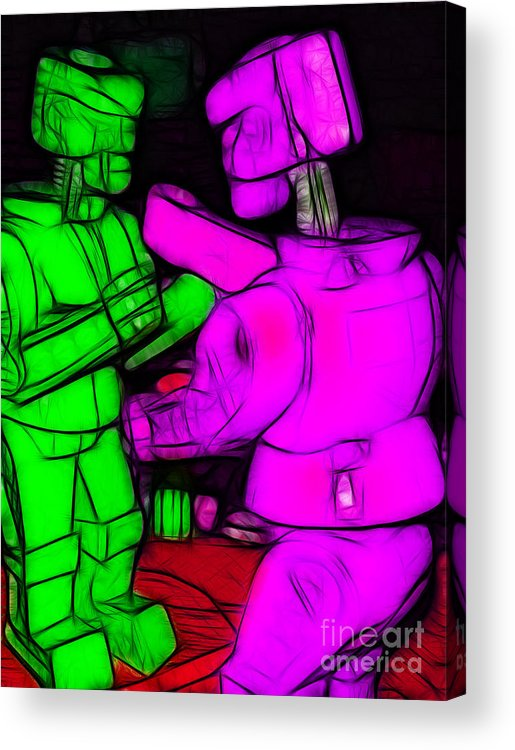 Robot Acrylic Print featuring the photograph Rockem Sockem Robots - Color Sketch Style - Version 2 by Wingsdomain Art and Photography