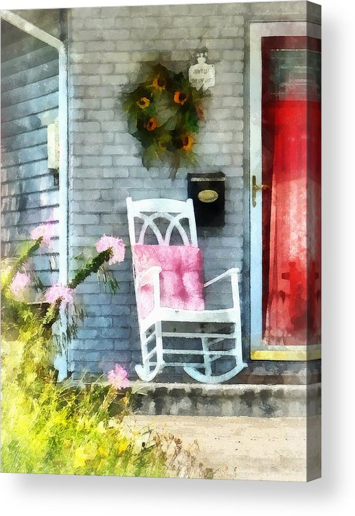 Rocking Chair Acrylic Print featuring the photograph Rocking Chair With Pink Pillow by Susan Savad