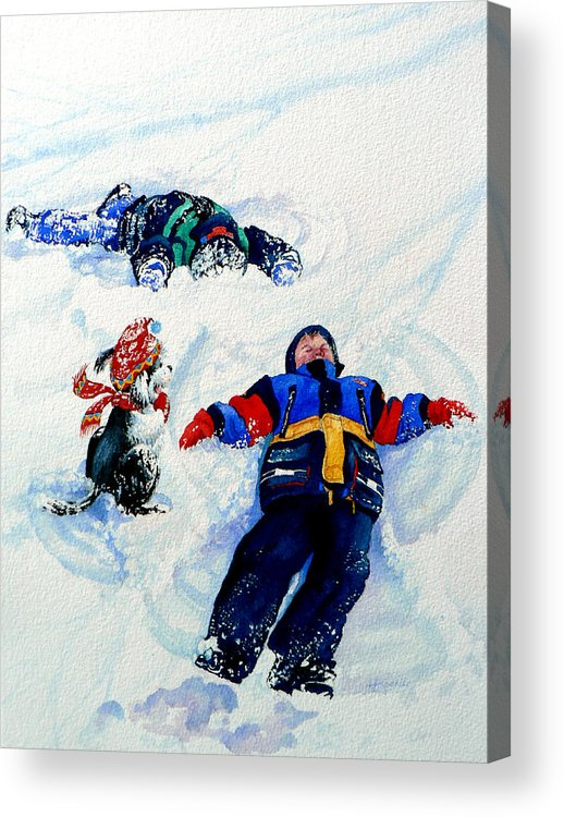 Kids In Snow Acrylic Print featuring the painting Snow Angels by Hanne Lore Koehler