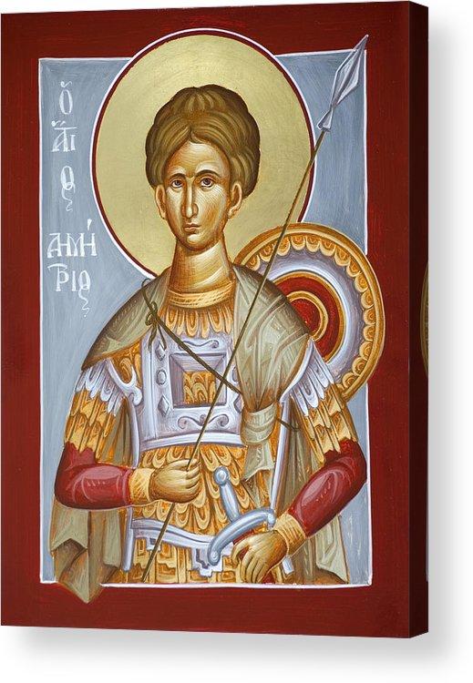 St Dimitrios Acrylic Print featuring the painting St Dimitrios The Myrrhstreamer by Julia Bridget Hayes