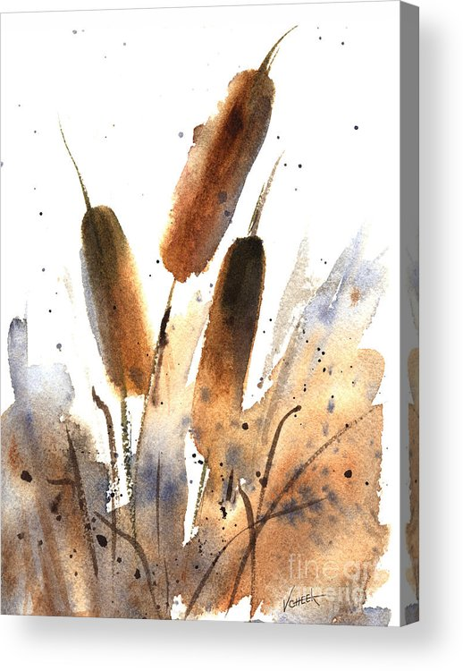 Art Acrylic Print featuring the painting Sunlit Cattails by Vickie Sue Cheek
