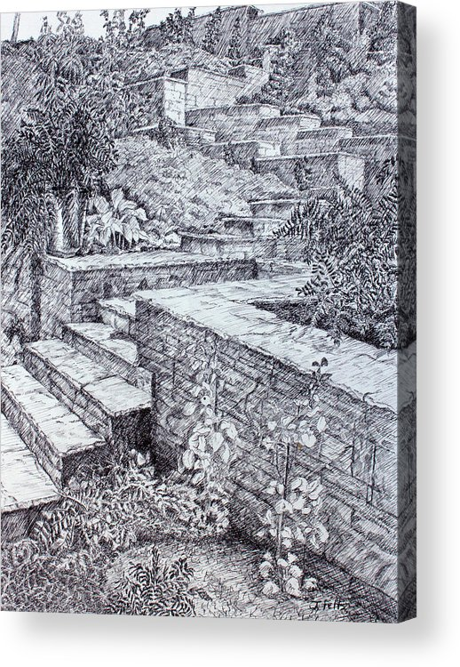 Garden Acrylic Print featuring the drawing The Garden Wall by Janet Felts