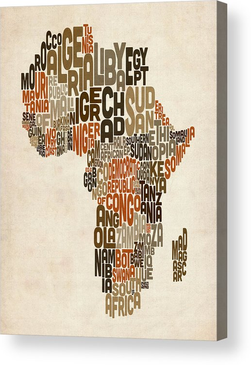 Africa Map Acrylic Print featuring the digital art Typography Text Map Of Africa by Michael Tompsett