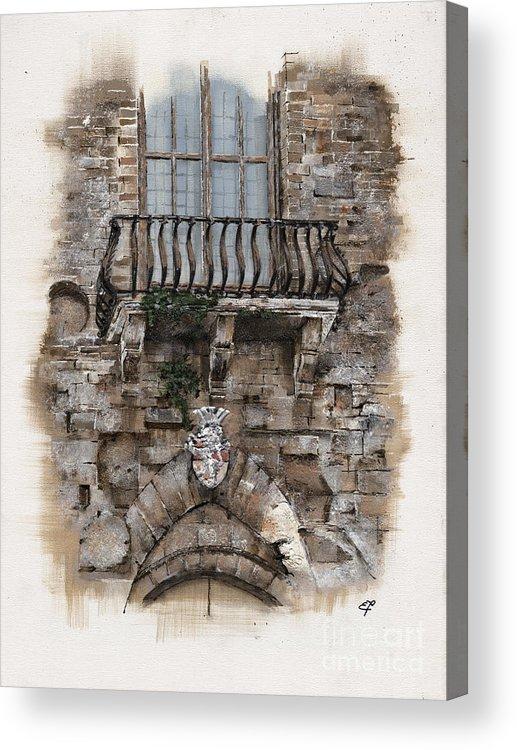 Venice Acrylic Print featuring the painting Venetian Balcony 02 Elena Yakubovich by Elena Yakubovich