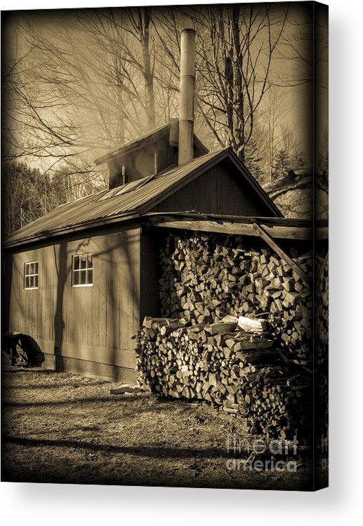Maple Acrylic Print featuring the photograph Vermont Maple Sugar Shack Circa 1954 by Edward Fielding