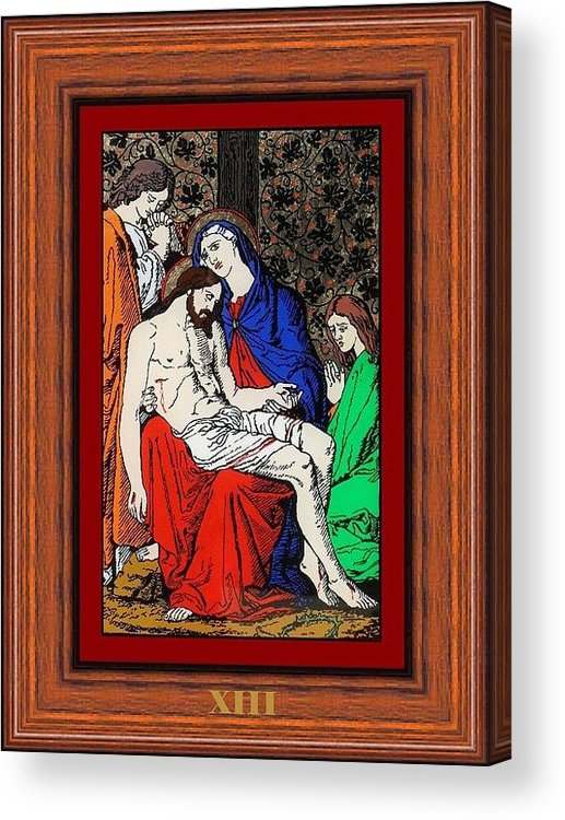 Xiii - Iisus Este Coborat De Pe Cruce (jesus Is Taken Down From The Cross) - Icoana Pictata In Ulei Cu Foita De Aur Pe Sticla (icon Painted In Oil With Gold Leaf On Glass ) Acrylic Print featuring the painting Drumul Crucii - Stations Of The Cross by Buclea Cristian Petru