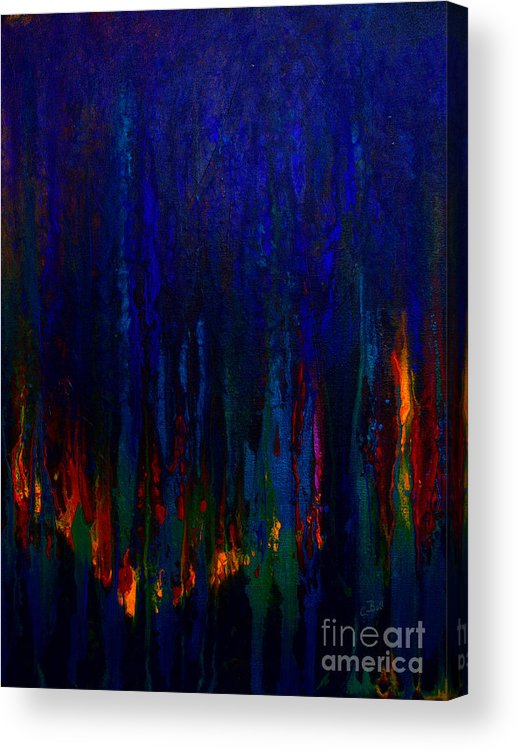 Abstract Acrylic Print featuring the painting Abstract Evergreens by Claire Bull
