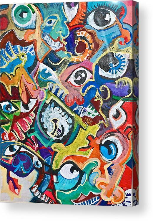 Eye Acrylic Print featuring the painting Faces In A Crowd by Jame Hayes