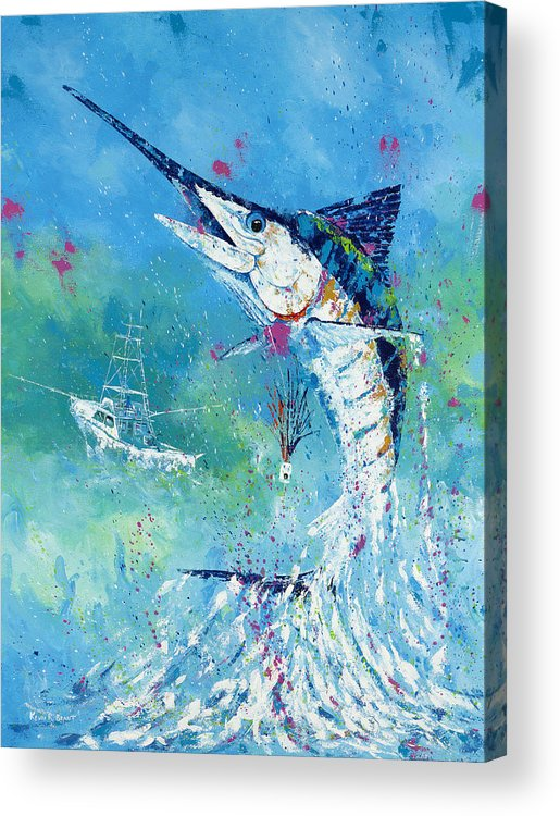 Blue Marlin Acrylic Print featuring the painting Hook Up by Kevin Brant