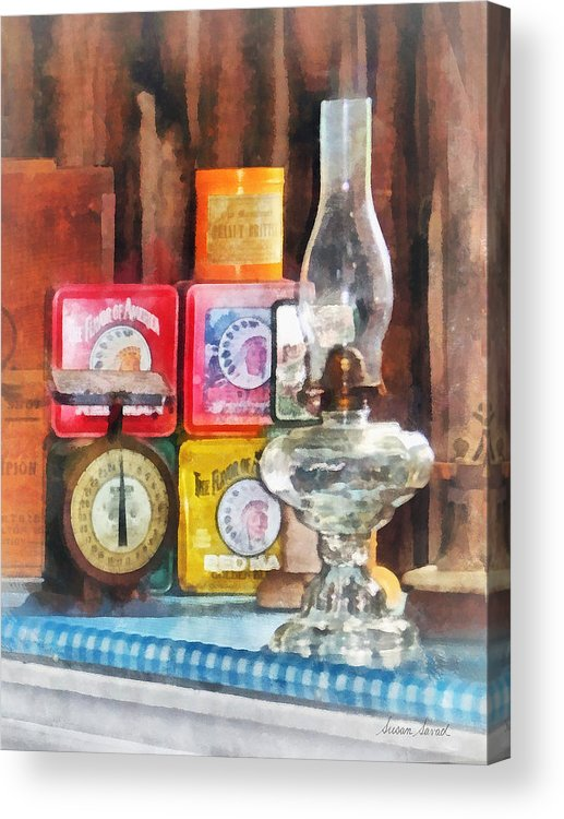 Lamp Acrylic Print featuring the photograph Hurricane Lamp And Scale by Susan Savad