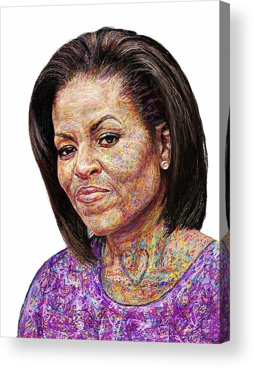 Ipad Painting Acrylic Print featuring the painting Michelle Obama With An Ipad by Edward Ofosu