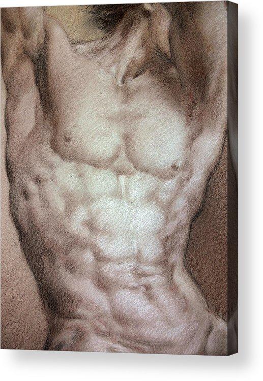 Man Acrylic Print featuring the drawing Nude 9 B by Valeriy Mavlo