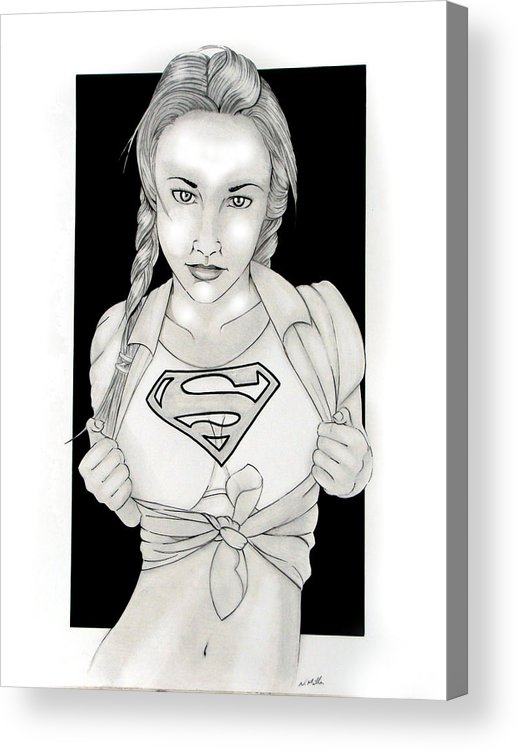 Dc Comics Acrylic Print featuring the drawing Supergirl by Nathan Miller