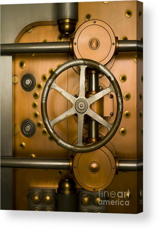 Architectural Acrylic Print featuring the photograph Tumbler On A Vault Door by Adam Crowley