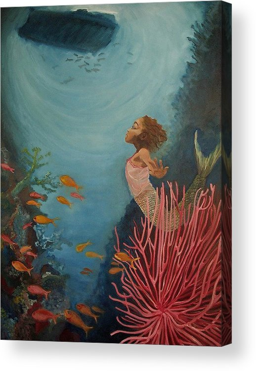 Mermaids Acrylic Print featuring the painting A Mermaid's Journey by Amira Najah Whitfield