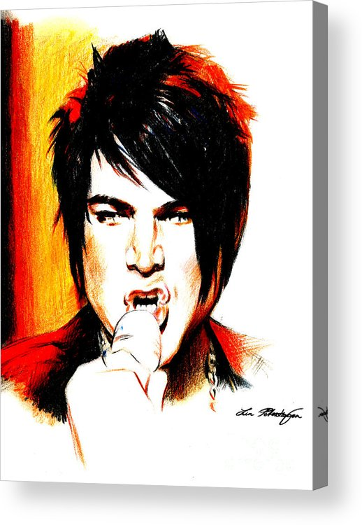 Adam Lambert Acrylic Print featuring the drawing Adam Lambert by Lin Petershagen