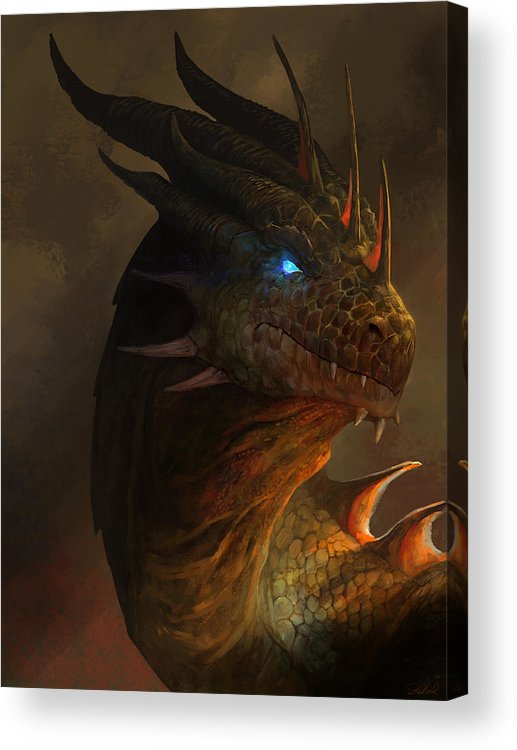 Dragon Art Acrylic Print featuring the mixed media Dragon Portrait by Steve Goad