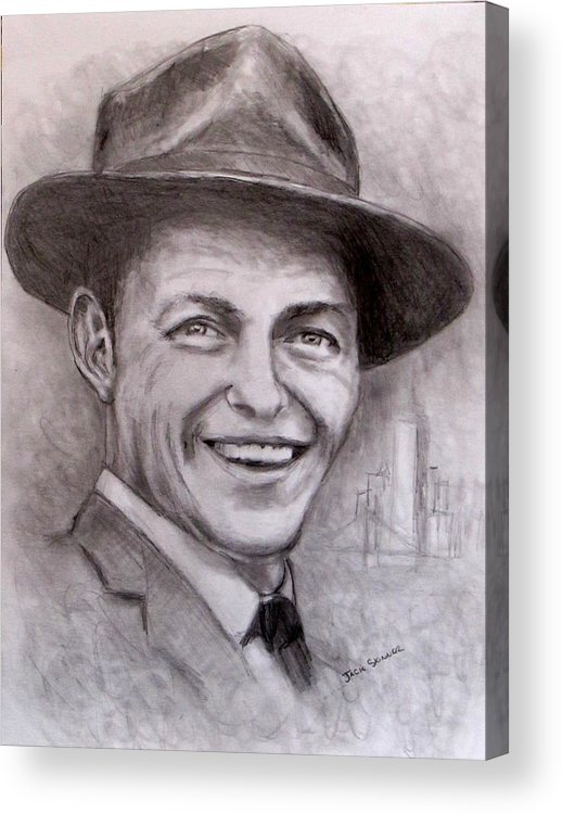 Frank Sinatra Acrylic Print featuring the drawing Frank by Jack Skinner