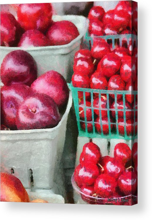 Apple Acrylic Print featuring the painting Fresh Market Fruit by Jeff Kolker