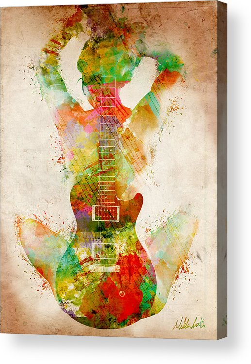 Guitar Acrylic Print featuring the digital art Guitar Siren by Nikki Smith