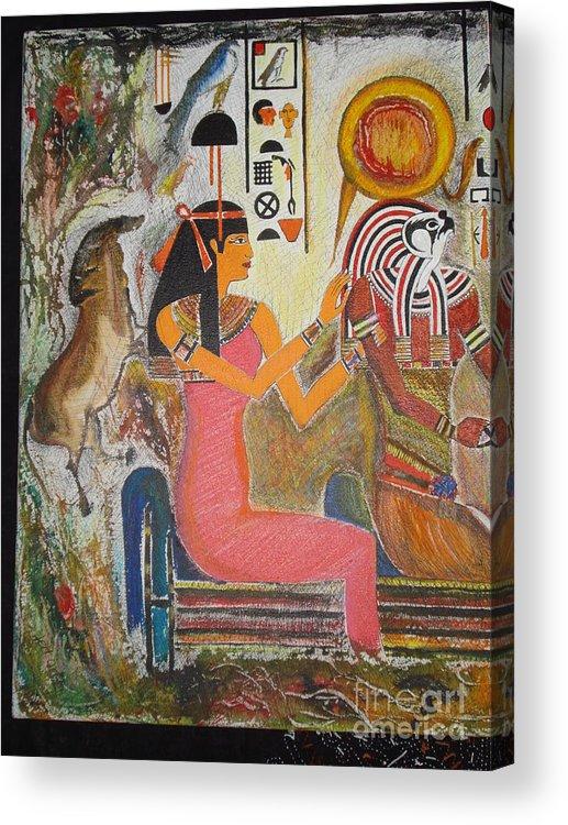 Hathor Acrylic Print featuring the mixed media Hathor And Horus by Prasenjit Dhar