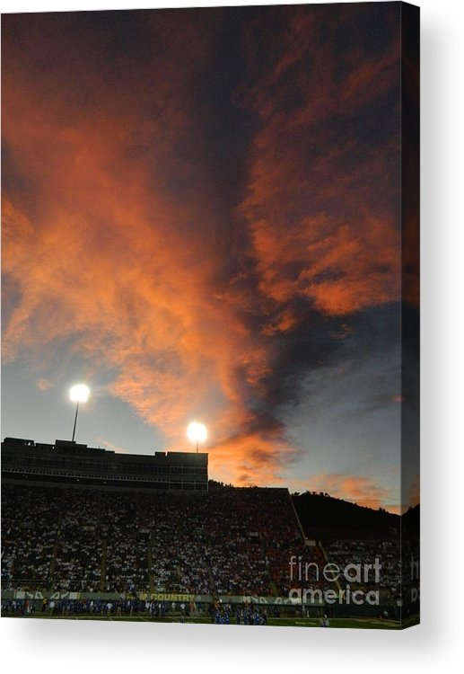 Fort Collins Acrylic Print featuring the photograph Hughes Stadium Sunset by Sara Mayer